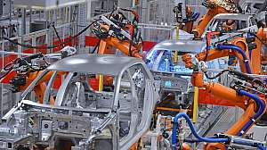 Autoliv robots welding in an automobile factory
